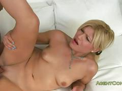 Blonde teasing pussy and fucked on casting