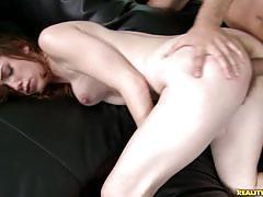 Brunette babe with hairy pussy enjoys hard fuck.