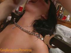 Brunette fucked in double penetration