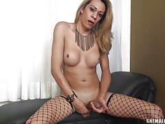 Hot ass shemale palys alone with her cock