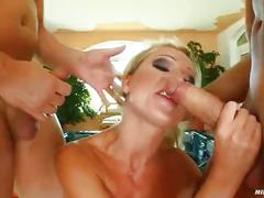 Milf thing mature wife takes on two guys like a good wive