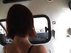 Cute redhead sucks cock in an ambulance