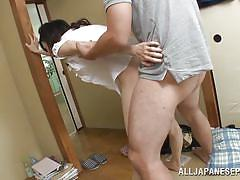 Tiny japanese milf gets a creampie