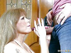 Horny redhead milf gets fucked on couch