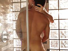 Gay dudes having anal fun in the shower