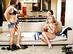 Three hot chicks get naughty on the couch