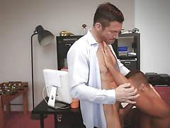 Gay lovers get naughty in the office