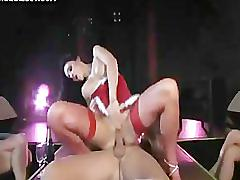 Sexy latin babe sticking long cock