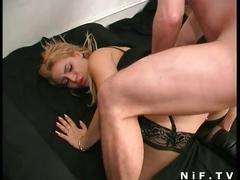 Sexy french babe gets her both holes pounded hard