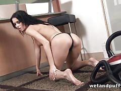 milf, kinky, brunette, vacuum cleaner, shaved vagina, on carpet, slim body, wet and puffy, puffy network, ritta