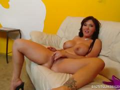 Brunette with wicked rack gets cum-glazed