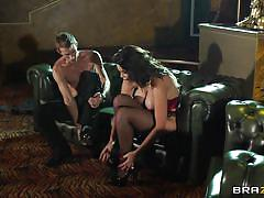 Sensual brunette fucked on couch