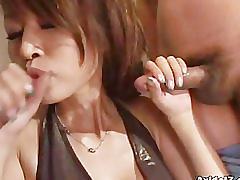 Aki double blowjob and facial