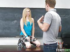 Hot blonde teen blows her teacher