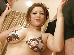 Pretty japanese whore needs cum on tits