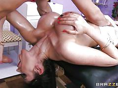massage, piercing, hand job, fingering, rubbing, busty milf, black hair, cock sucking, dirty masseur, brazzers network, eva karera, mick blue