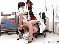 Sexy school nurse jerks cock