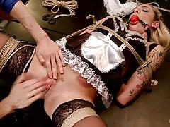 milf, blonde, bondage, bdsm, uniform, maid, mouth fuck, pussy fingering, ball gag, tied on table, hogtied, kink, owen gray, dahlia sky