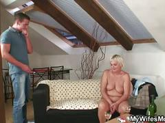 Naughty oldie spreads legs for son-in-law