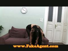 Stunning brunette teen fucks the fake agent