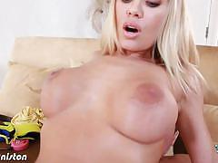 Busty blonde babe nicole aniston sucks and fucks.