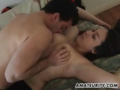 Amateur girlfriend with big tits sucks and fucks