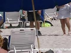 babes, beach, flashing, public nudity