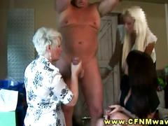 Two babes and blonde milf share stiff cock