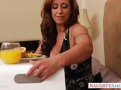 Tattooed milf eva notty take a big young cock