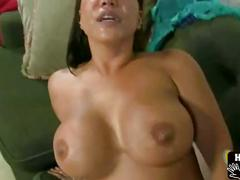 Asian milf gagging on cock