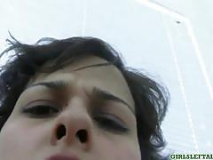 Shaved pussy teen babe alex masturbates on cam