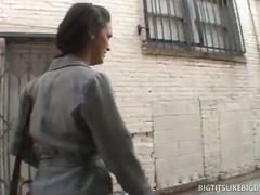 Huge tits brunette banged by stranger