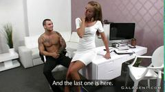 Fit female agent fucks a tattooed guy in an office