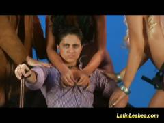 Sexy latinas set a wild lesbian foursome
