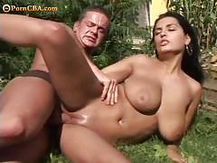 brunette, hardcore, big tits, busty, babe, pussy, outdoor, doggy style, tight pussy, shaved pussy, gorgeous, big boobs, huge tits, beauty, black hair, garden, spoon, forest, backyard, missionary