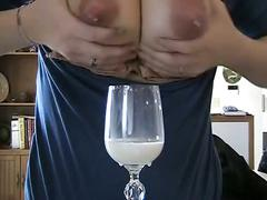Milky mom with breast milk