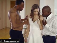 brunette, interracial, threesome, huge-cock, blacked, black, 3some, mmf, doggystyle, riding, reverse-cowgirl, hairy-pussy, squirting, bbc, big-dick, big-cock, blowjob