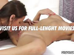 Silky smooth lesbian pussies licked
