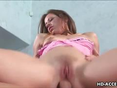 Sexy brunette babe gets harsh fuck in both holes
