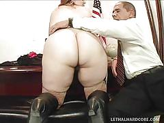 Big fat white ass on his desk