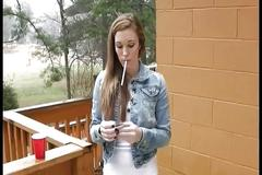 Beautiful girl smoking 120's