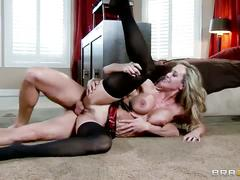 Blonde stunner fucks on the bedroom's floor