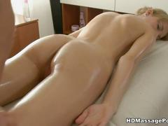 Slim babe gets the ultimate massage