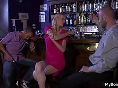 Drunk gf cheating by fucking bf's horny dad
