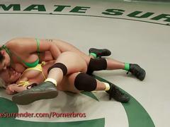 Two kinky lesbian sluts wrestling