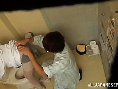 Pretty nippon nurse gets pussy fingered.