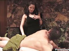 Horny massage therapist fucks her patient