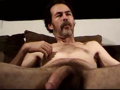 Gregor jerking his mature cock and cumming hard.