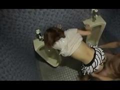 Creampie sex in public toilet