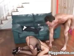 Blonde sucks two cocks at the same time